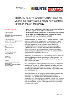 JOHANN BUNTE and STRABAG start the year in Germany with a major new contract to widen the A1 motorway