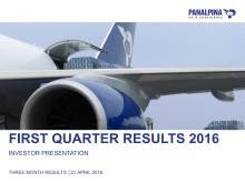 Three Months Results  2016 – Investor Presentation