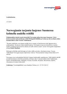 Norwegianin tarjonta laajenee Suomessa kolmella uudella reitillä