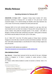 Operating Indicators for February 2017