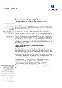 Zurich Agentur Jörg Riediger als bester Vermittlerbetrieb Deutschlands ausgezeichnet