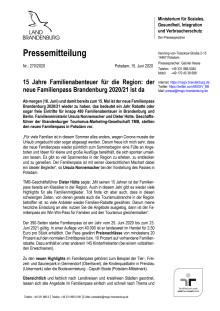 15 Jahre Familienabenteuer für die Region: der neue Familienpass Brandenburg 2020/21 ist da