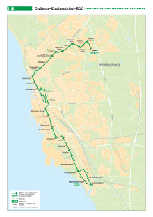 Stadsbuss linje 1 i Helsingborg - karta och tidtabell - 13 augusti 2017
