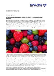 Ehrgeizige Wachstumspläne für neu lanciertes Panalpina Perishables Network