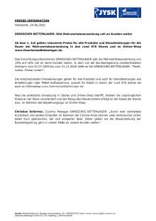 DÄNISCHES BETTENLAGER: Gibt Mehrwertsteuersenkung voll an Kunden weiter