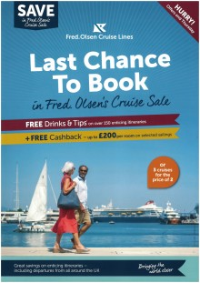 Less than one week left to enjoy super savings in Fred. Olsen's great-value 'Cruise Sale', with convenient flights from Scotland
