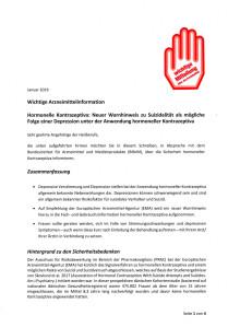 Rote Hand Brief - Neuer Warnhinweis zu Suizidalität als mögliche Folge einer Depression unter der Anwendung hormoneller Kontrazeptiva