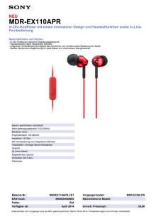 Datenblatt_MDR-EX110APR von Sony