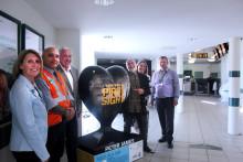 West Sussex hospice unveils giant heart sculpture at Horsham station