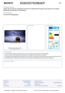 Datenblatt BRAVIA KD-65XD7505BAEP von Son