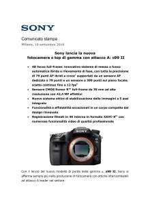 Sony lancia la nuova  fotocamera ɑ top di gamma con attacco A: ɑ99 II