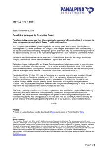 Panalpina enlarges its Executive Board