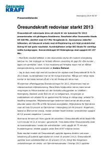 Öresundskraft redovisar starkt 2013