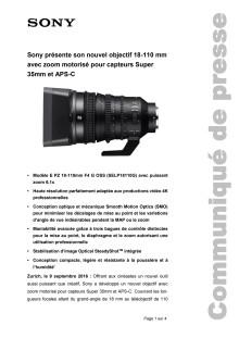 Sony présente son nouvel objectif 18-110 mm avec zoom motorisé pour capteurs Super 35mm et APS-C