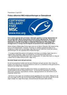 Findus välkomnar MSC/miljöcertifieringen av Östersjötorsk