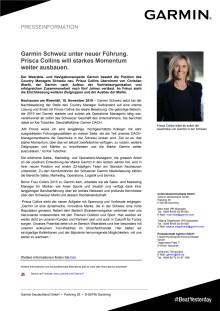 Garmin Schweiz unter neuer Führung.  Prisca Collins will starkes Momentum weiter ausbauen.