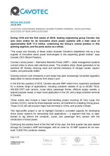 Cavotec continues winning shore power orders, highlighting success of new applications