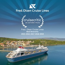 Record fifth consecutive 'Best for Itineraries' win for Fred. Olsen in Cruise Critic's 'UK Editors' Picks Awards 2019'