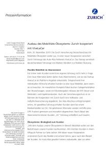 Ausbau des Mobilitäts-Ökosystems: Zurich kooperiert mit ViveLaCar