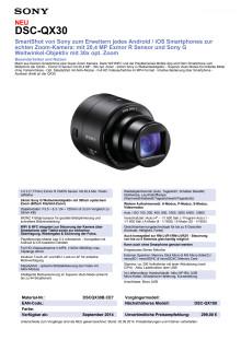 Datenblatt SmartShot DSC-QX30 von Sony
