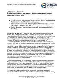 """""""Abenteuer Jobsuche"""": CareerBuilder und die Macromedia Hochschule München starten Marktforschungsprojekt"""