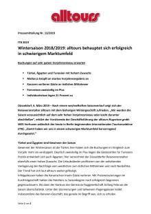 ITB 2019 - Wintersaison 2018/2019: alltours behauptet sich erfolgreich in schwierigem Marktumfeld - Buchungen auf sehr gutem Vorjahresniveau erwartet