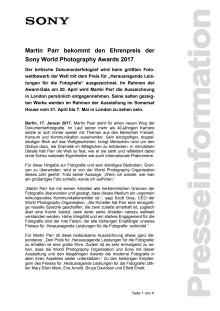 Martin Parr bekommt den Ehrenpreis der Sony World Photography Awards 2017