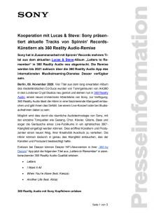 Kooperation mit Lucas & Steve: Sony präsentiert aktuelle Tracks von Spinnin' Records-Künstlern als 360 Reality Audio-Remixe