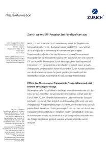Zurich weitet ETF-Angebot bei Fondspolicen aus