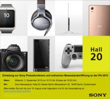 Einladung Sony Pressekonferenz IFA 2015 am 2. September