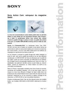 Communicatio de presse_ Vainquer du magazine Saldo Action Cam HDR-AS100V_F-CH_141212