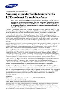 Samsung utvecklar första kommersiella LTE-modemet för mobiltelefoner