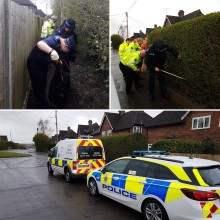Surrey Police and Guildford Borough Council work together for street and weapon sweep in Ash