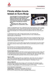 Första elbilen krocktestad av Euro-Ncap