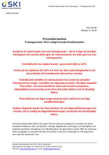 Träningscenter 2011 enligt Svenskt Kvalitetsindex