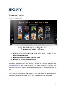 Sony Privilege Movies 4K