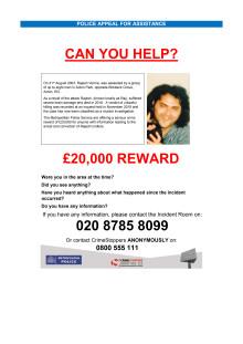 Appeal poster - Rajesh Verma murder
