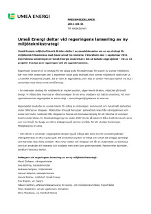 Umeå Energi deltar vid regeringens lansering av ny miljöteknikstrategi