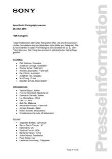 Namen Shortlist SWPA 2016