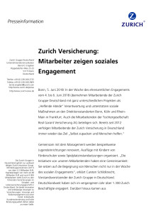 Zurich Versicherung: Mitarbeiter zeigen soziales Engagement