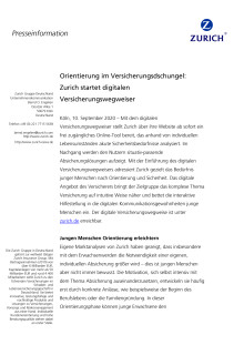 Orientierung im Versicherungsdschungel: Zurich startet digitalen Versicherungswegweiser