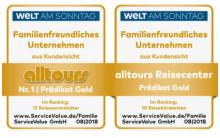 Bestnoten im Doppelpack für alltours - Familienfreundlichkeit 2018: alltours flugreisen und alltours Reisecenter sind erneut Branchensieger