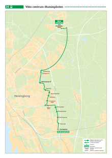Ny stadsbusslinje i Helsingborg, linje 24, tidtabell och karta. Gäller fr 13 augusti 2017.