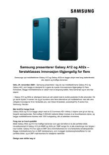 Samsung presenterer Galaxy A12 og A02s – førsteklasses innovasjon tilgjengelig for flere