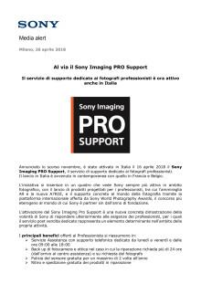 Al via il Sony Imaging PRO Support