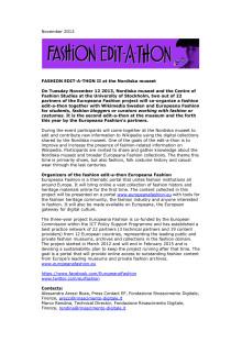 Fashion edit-a-thon at Nordiska museet 2013-11-12
