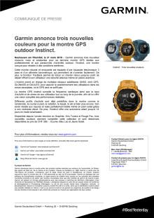 Garmin annonce trois nouvelles couleurs pour la montre GPS outdoor Instinct.