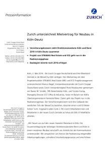 Zurich unterzeichnet Mietvertrag für Neubau in Köln-Deutz