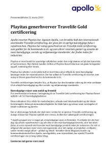 Playitas generhverver Travelife Gold certificering