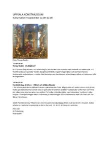 Uppsala konstmuseums program Kulturnatten 9 september 2017